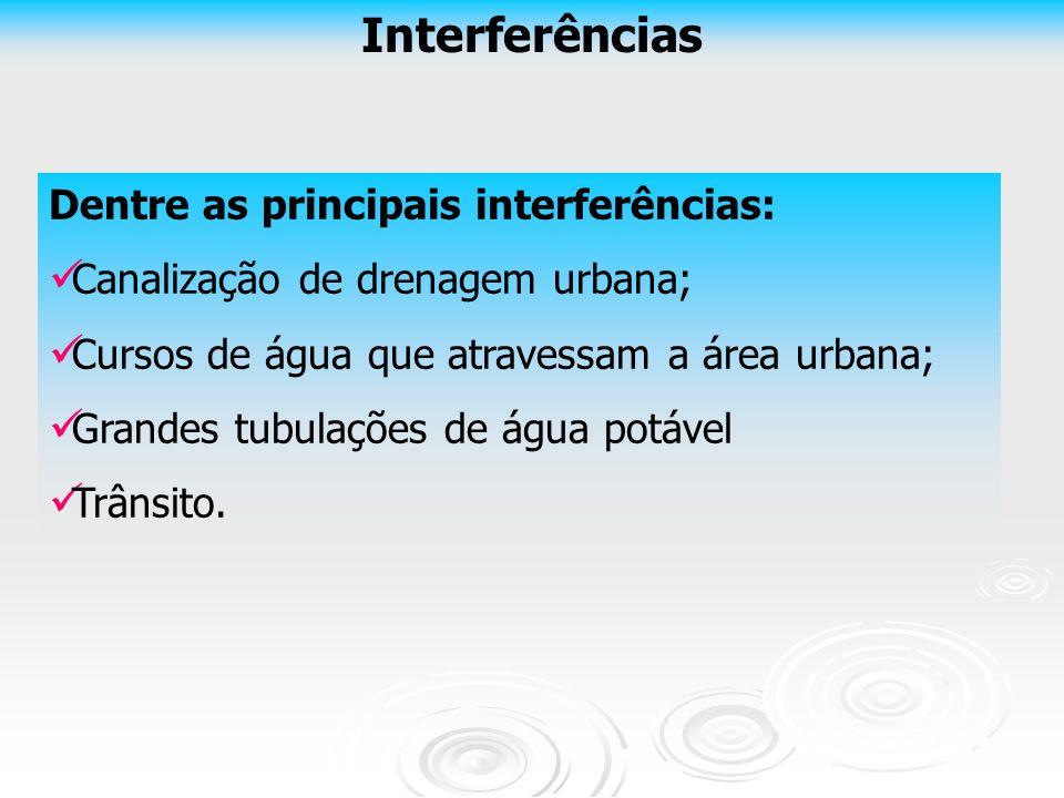 Interferências Dentre as principais interferências: Canalização de drenagem urbana; Cursos de água que atravessam a área urbana; Grandes tubulações de