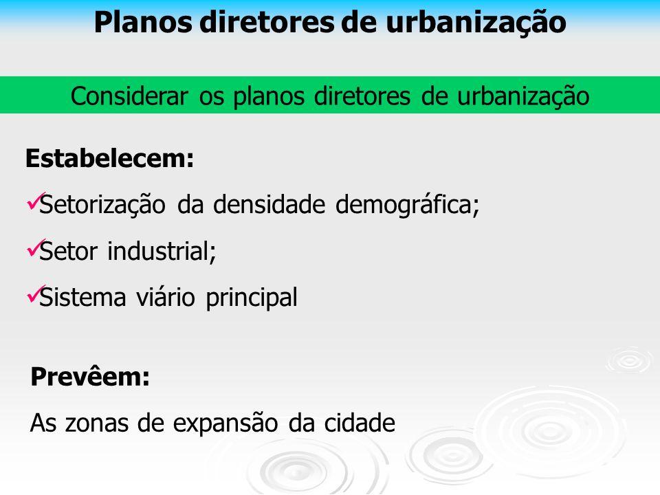 Planos diretores de urbanização Considerar os planos diretores de urbanização Estabelecem: Setorização da densidade demográfica; Setor industrial; Sis