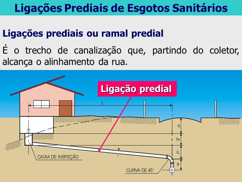 Ligações Prediais de Esgotos Sanitários Ligações prediais ou ramal predial É o trecho de canalização que, partindo do coletor, alcança o alinhamento d