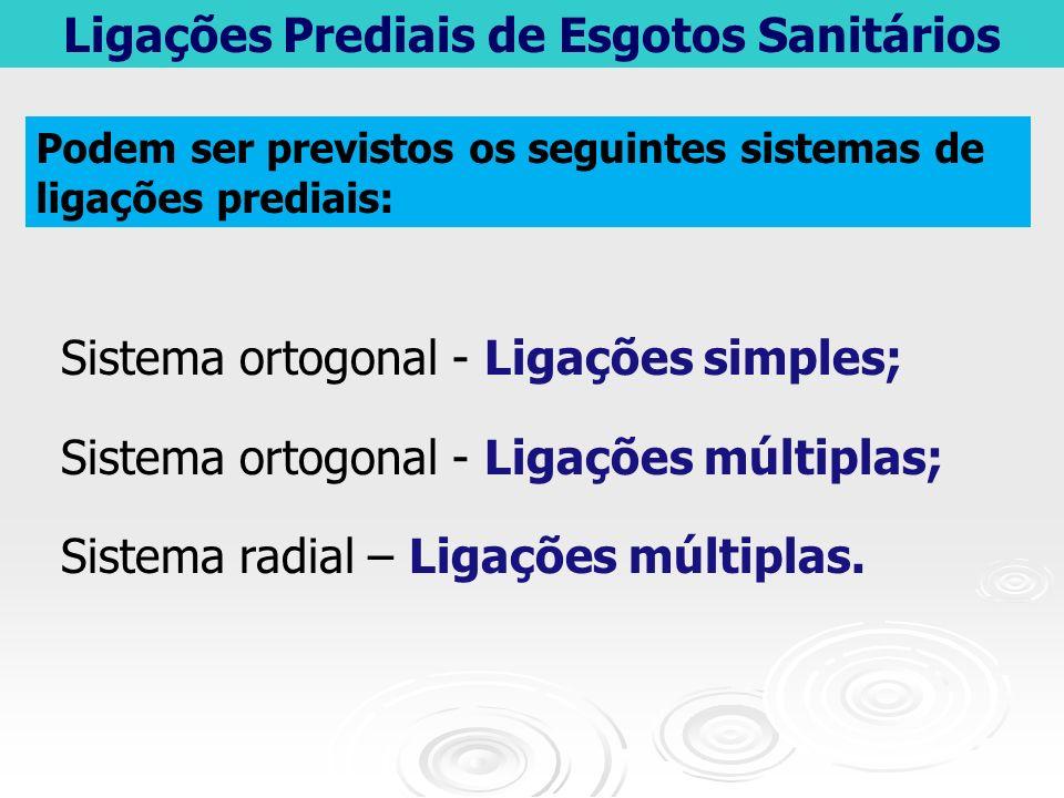 Ligações Prediais de Esgotos Sanitários Sistema ortogonal - Ligações simples; Sistema ortogonal - Ligações múltiplas; Sistema radial – Ligações múltip