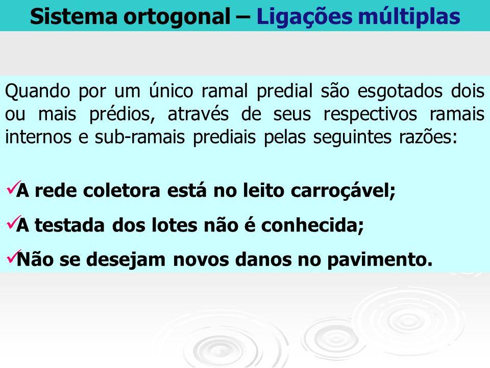 Sistema ortogonal – Ligações múltiplas Quando por um único ramal predial são esgotados dois ou mais prédios, através de seus respectivos ramais intern