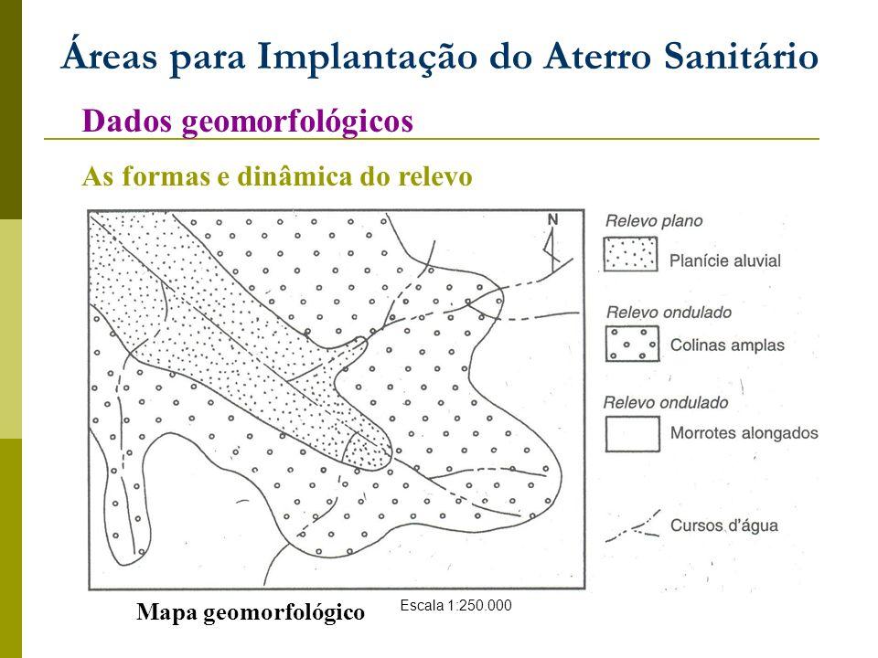 Áreas para Implantação do Aterro Sanitário Dados geomorfológicos As formas e dinâmica do relevo Mapa geomorfológico Escala 1:250.000