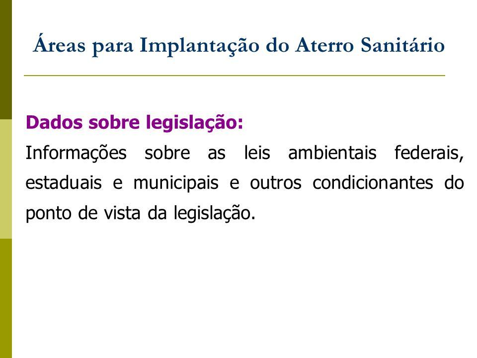 Dados sobre legislação: Informações sobre as leis ambientais federais, estaduais e municipais e outros condicionantes do ponto de vista da legislação.