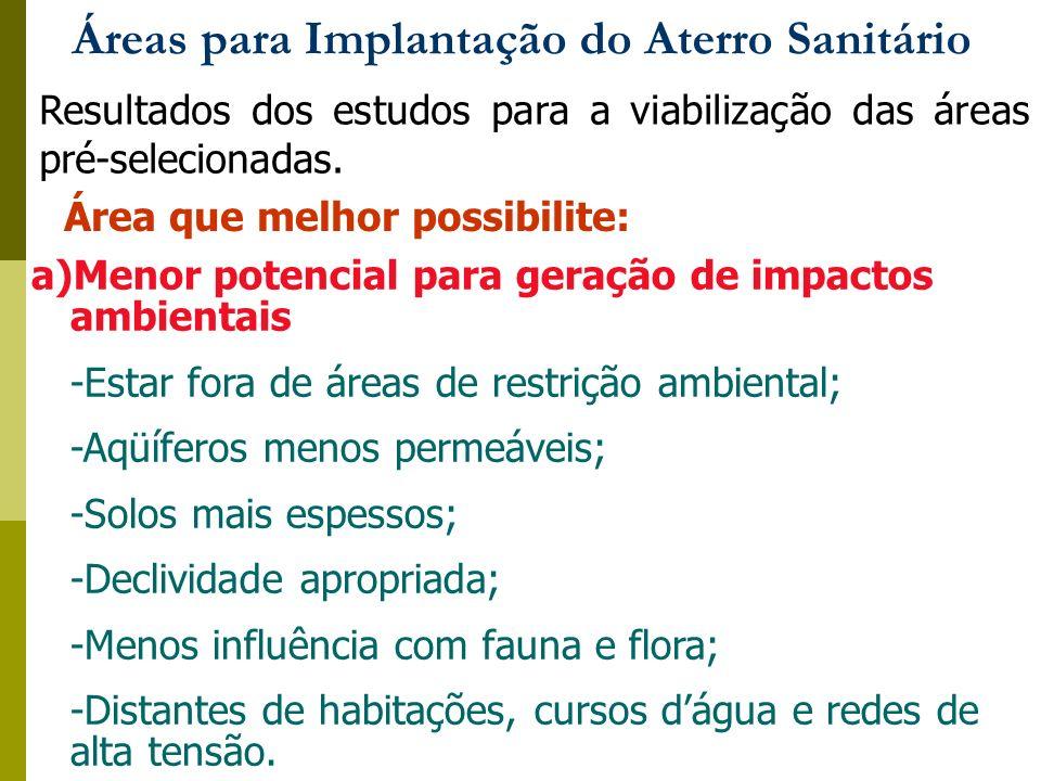 Áreas para Implantação do Aterro Sanitário Resultados dos estudos para a viabilização das áreas pré-selecionadas. Área que melhor possibilite: a)Menor