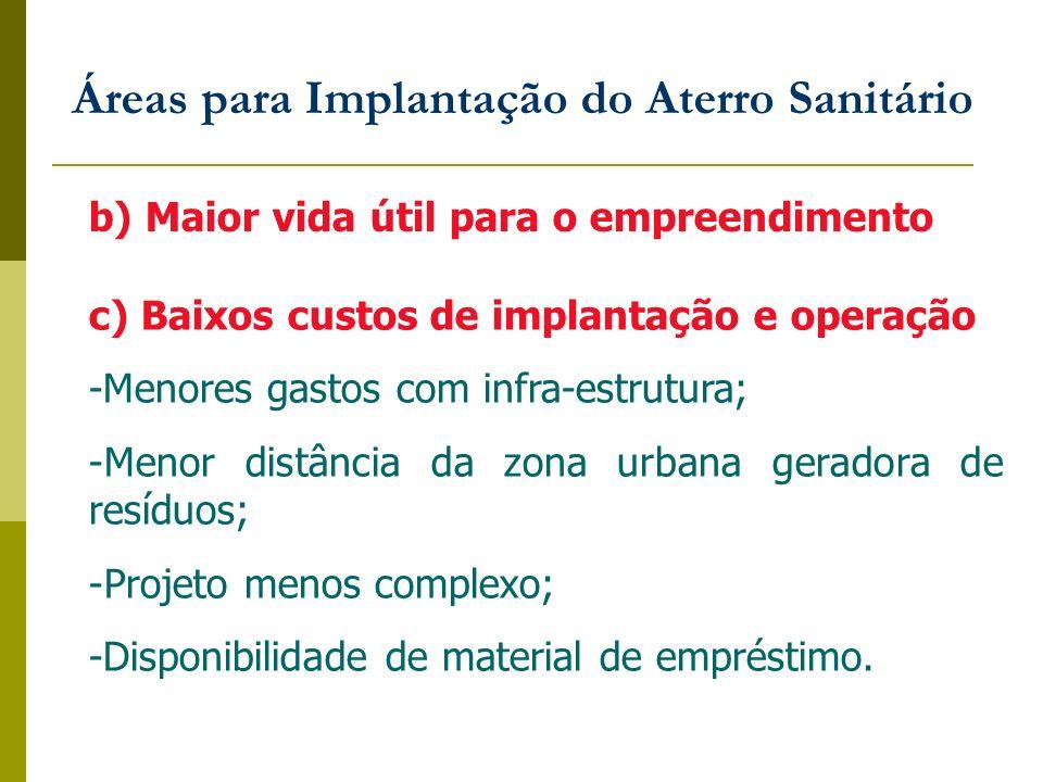 Áreas para Implantação do Aterro Sanitário b) Maior vida útil para o empreendimento c) Baixos custos de implantação e operação -Menores gastos com inf