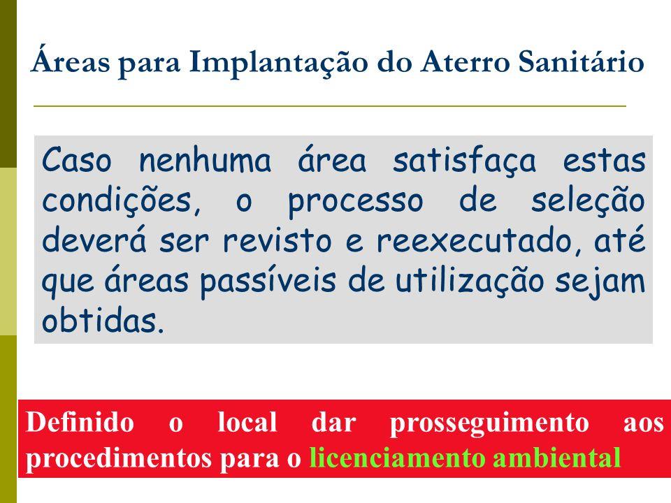 Áreas para Implantação do Aterro Sanitário Definido o local dar prosseguimento aos procedimentos para o licenciamento ambiental Caso nenhuma área sati