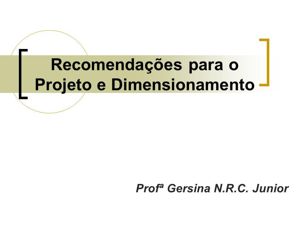 Recomendações para o Projeto e Dimensionamento Profª Gersina N.R.C. Junior