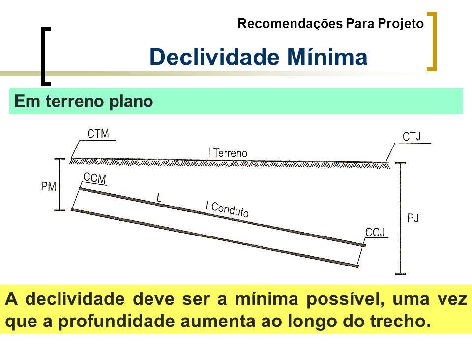 Recomendações Para Projeto Declividade Mínima Em terreno plano A declividade deve ser a mínima possível, uma vez que a profundidade aumenta ao longo d