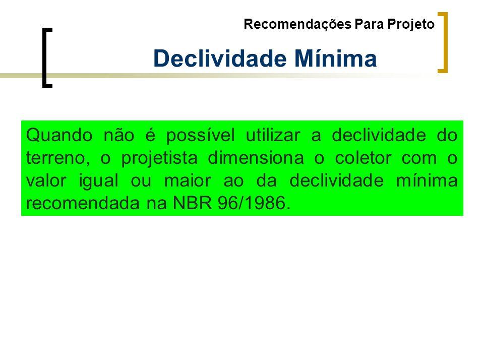 Recomendações Para Projeto Declividade Mínima Quando não é possível utilizar a declividade do terreno, o projetista dimensiona o coletor com o valor i