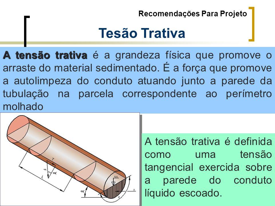 Recomendações Para Projeto Tesão Trativa A tensão trativa A tensão trativa é a grandeza física que promove o arraste do material sedimentado. É a forç