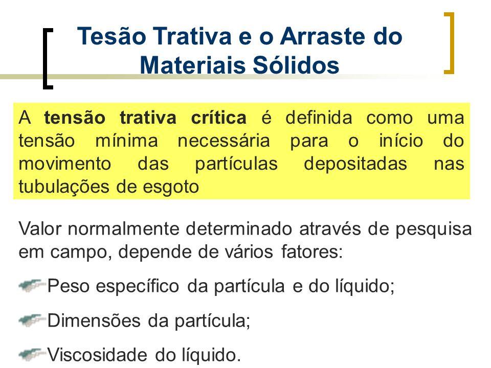 Tesão Trativa e o Arraste do Materiais Sólidos A tensão trativa crítica é definida como uma tensão mínima necessária para o início do movimento das pa