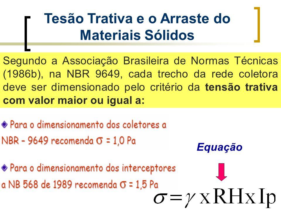 Tesão Trativa e o Arraste do Materiais Sólidos Segundo a Associação Brasileira de Normas Técnicas (1986b), na NBR 9649, cada trecho da rede coletora d