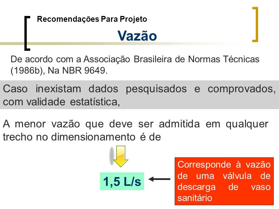 Recomendações Para Projeto Vazão De acordo com a Associação Brasileira de Normas Técnicas (1986b), Na NBR 9649. Caso inexistam dados pesquisados e com