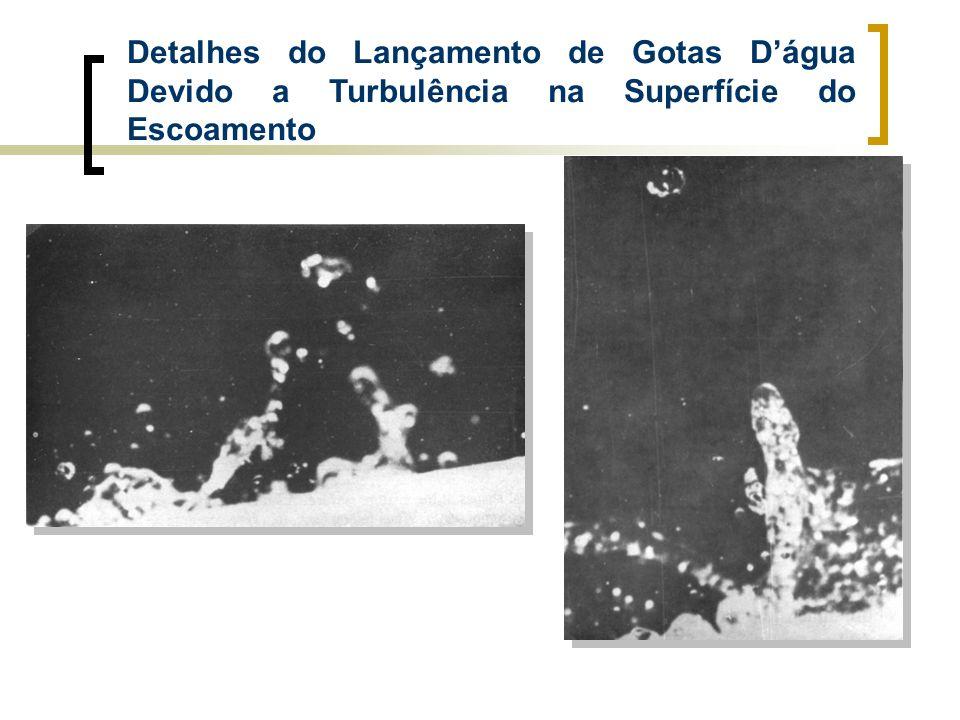 Detalhes do Lançamento de Gotas Dágua Devido a Turbulência na Superfície do Escoamento