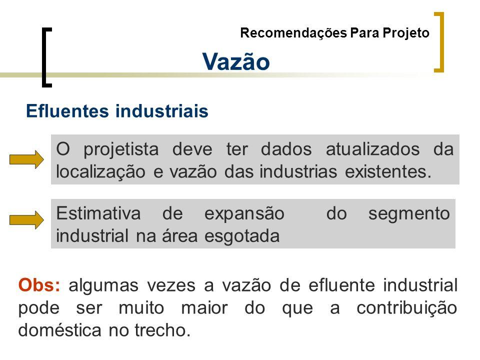 Recomendações Para Projeto Vazão Efluentes industriais O projetista deve ter dados atualizados da localização e vazão das industrias existentes. Estim