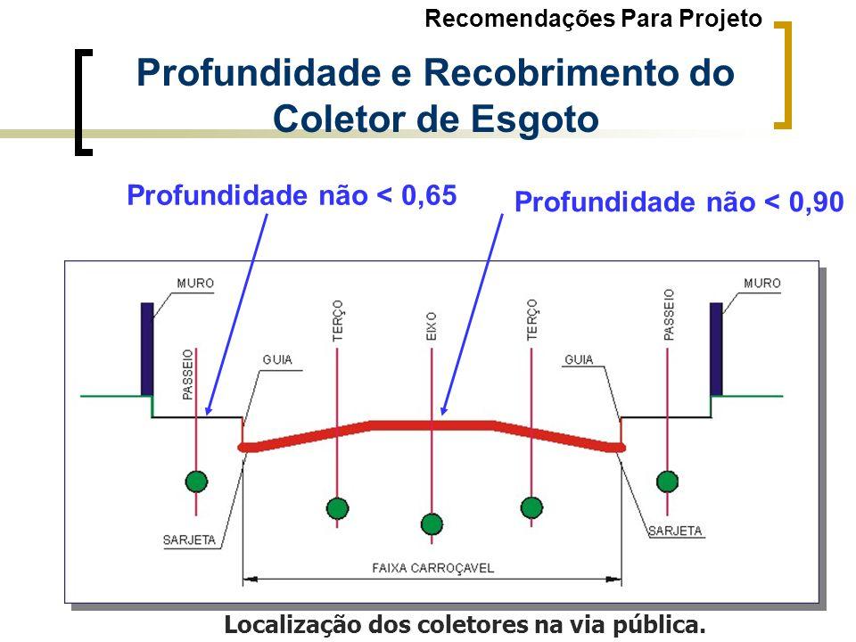 Localização dos coletores na via pública. Profundidade e Recobrimento do Coletor de Esgoto Profundidade não < 0,90 Profundidade não < 0,65 Recomendaçõ