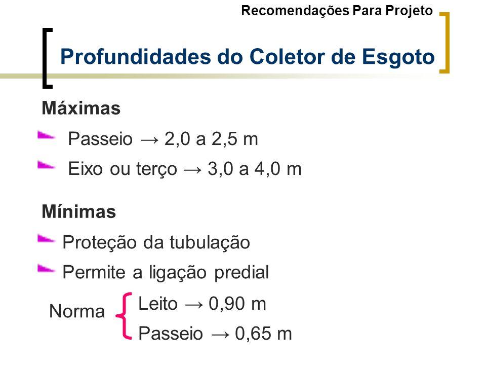 Profundidades do Coletor de Esgoto Passeio 2,0 a 2,5 m Eixo ou terço 3,0 a 4,0 m Máximas Proteção da tubulação Permite a ligação predial Mínimas Leito