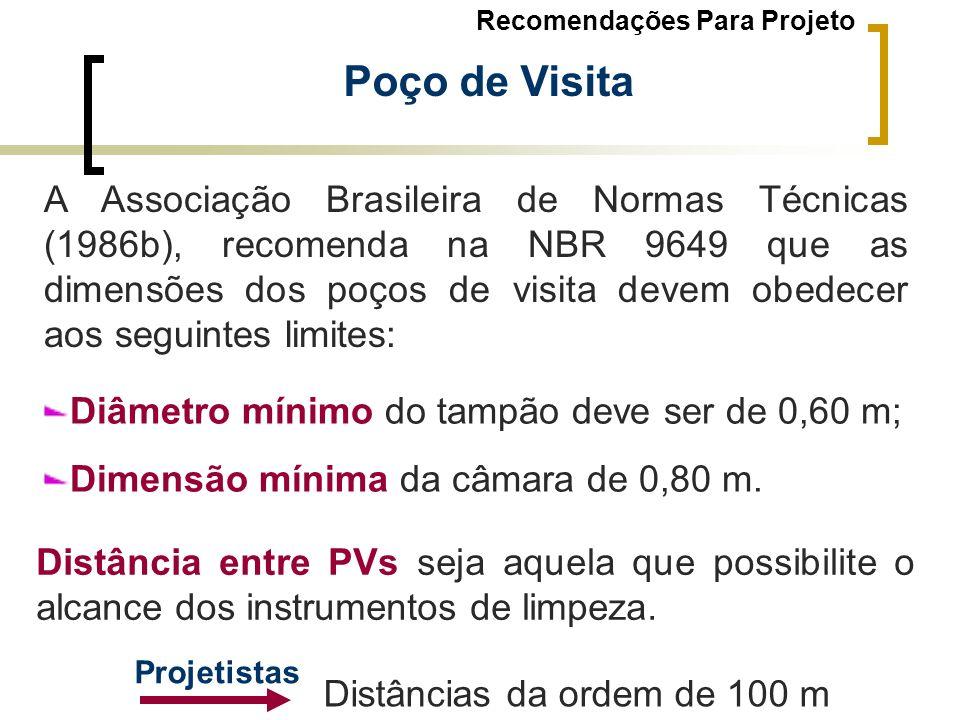 Poço de Visita A Associação Brasileira de Normas Técnicas (1986b), recomenda na NBR 9649 que as dimensões dos poços de visita devem obedecer aos segui