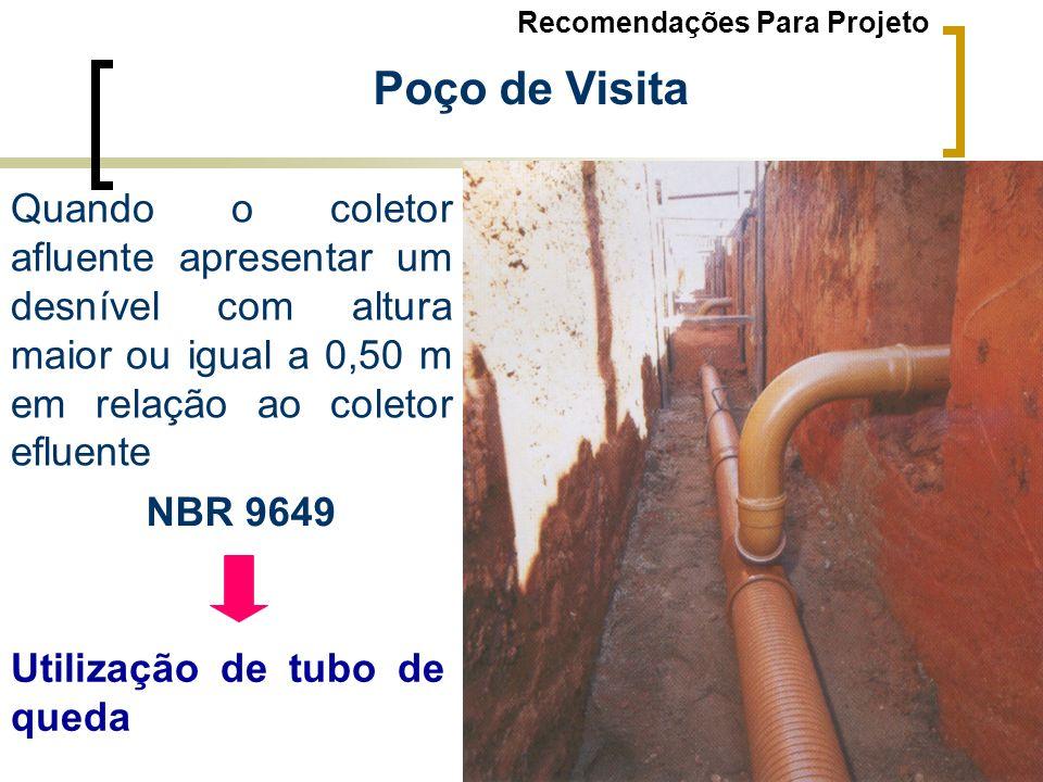 Poço de Visita Quando o coletor afluente apresentar um desnível com altura maior ou igual a 0,50 m em relação ao coletor efluente NBR 9649 Utilização