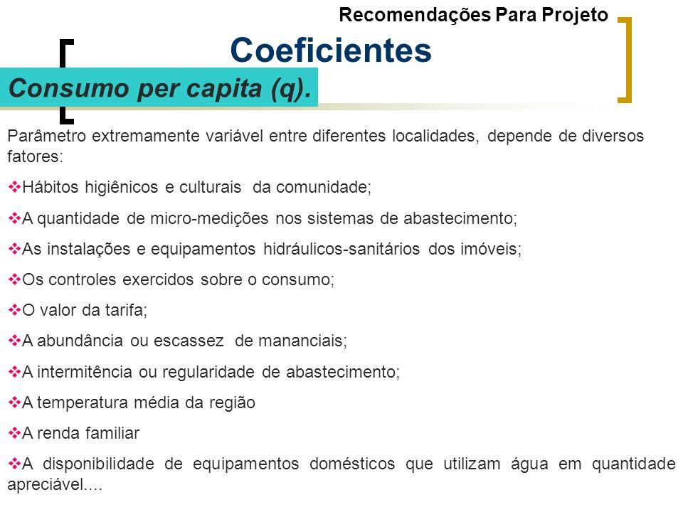 Consumo per capita (q). Parâmetro extremamente variável entre diferentes localidades, depende de diversos fatores: Hábitos higiênicos e culturais da c