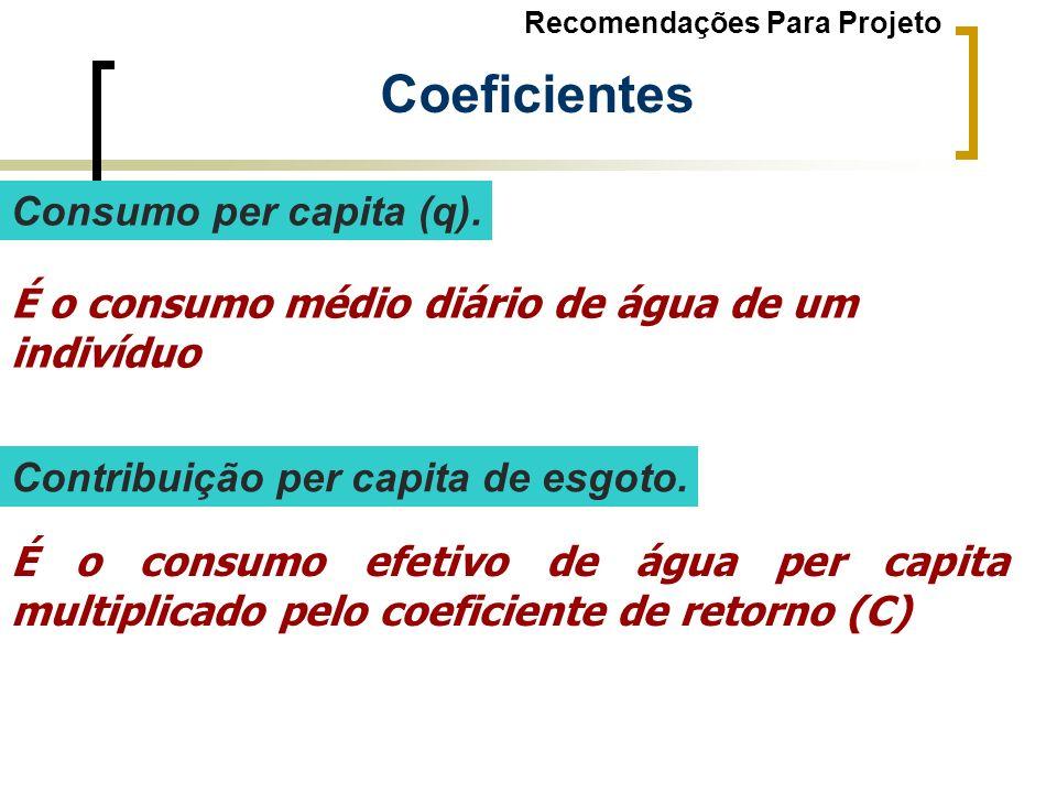 Consumo per capita (q). É o consumo médio diário de água de um indivíduo É o consumo efetivo de água per capita multiplicado pelo coeficiente de retor