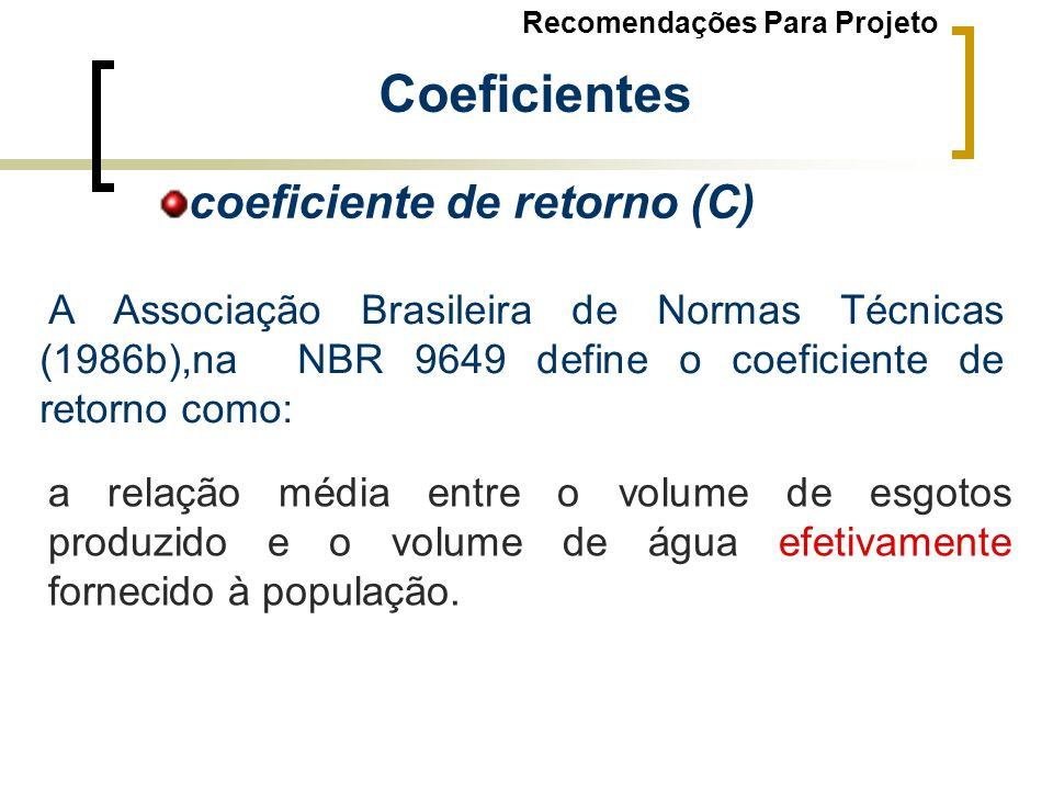 a relação média entre o volume de esgotos produzido e o volume de água efetivamente fornecido à população. A Associação Brasileira de Normas Técnicas