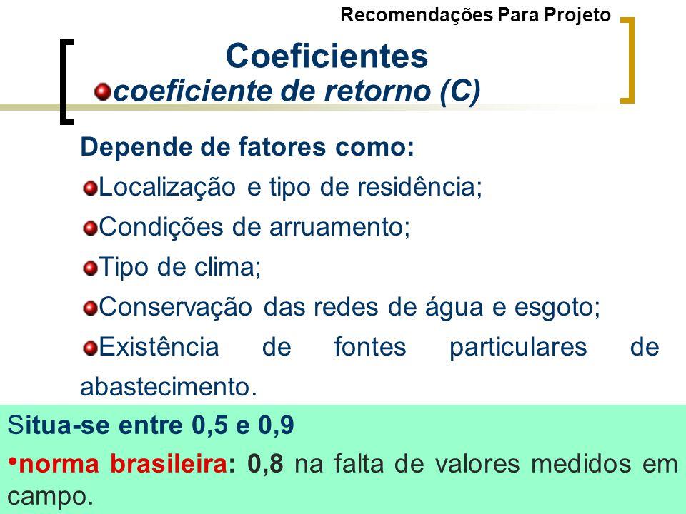 Depende de fatores como: Localização e tipo de residência; Condições de arruamento; Tipo de clima; Conservação das redes de água e esgoto; Existência