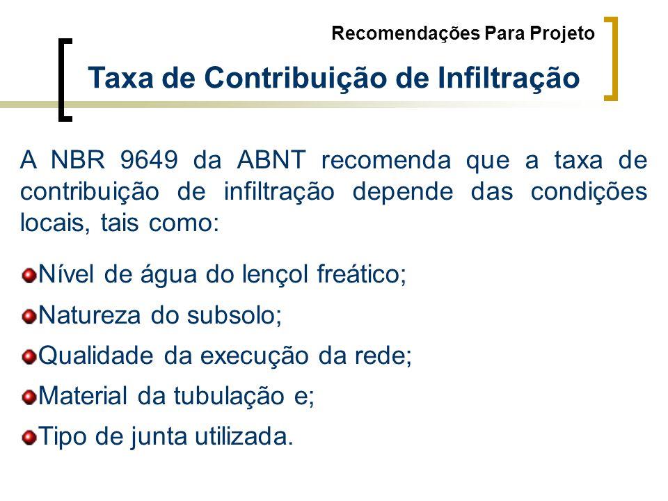 Taxa de Contribuição de Infiltração Recomendações Para Projeto A NBR 9649 da ABNT recomenda que a taxa de contribuição de infiltração depende das cond