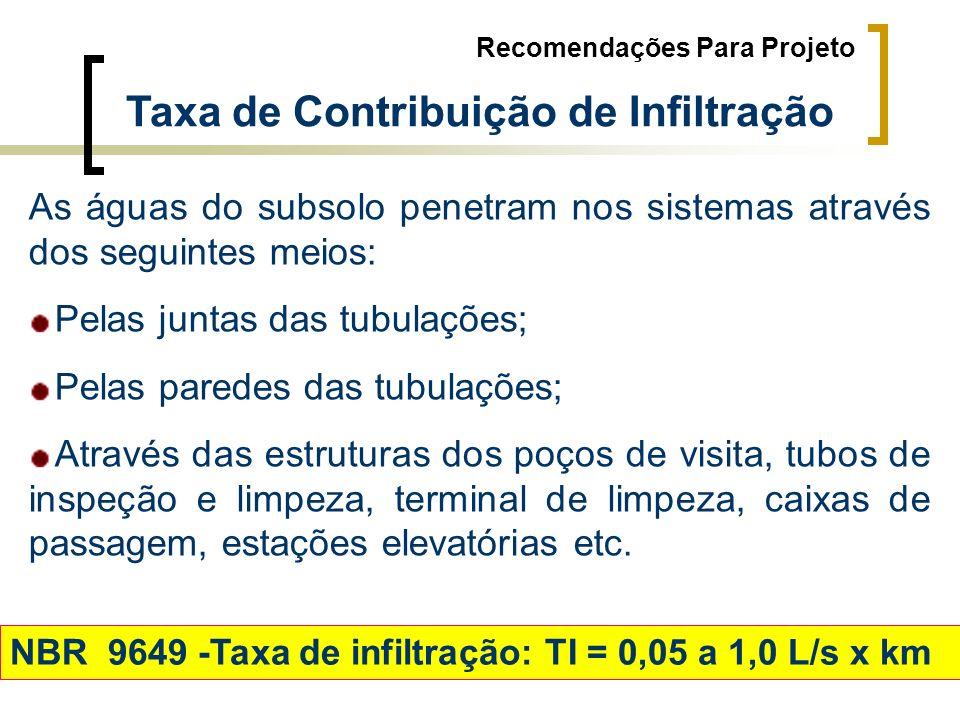 Taxa de Contribuição de Infiltração Recomendações Para Projeto As águas do subsolo penetram nos sistemas através dos seguintes meios: Pelas juntas das