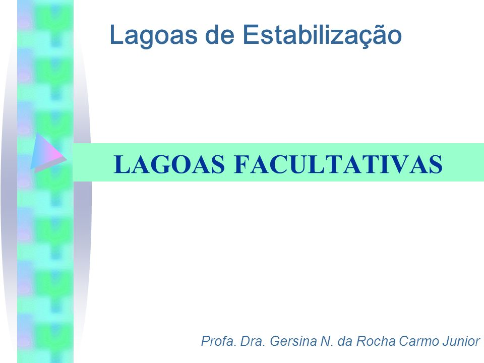 Lagoas de Estabilização Profa. Dra. Gersina N. da Rocha Carmo Junior LAGOAS FACULTATIVAS