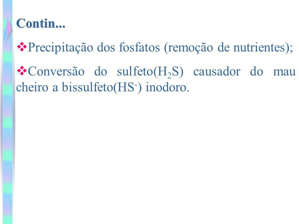 Contin... Precipitação dos fosfatos (remoção de nutrientes); Conversão do sulfeto(H 2 S) causador do mau cheiro a bissulfeto(HS - ) inodoro.