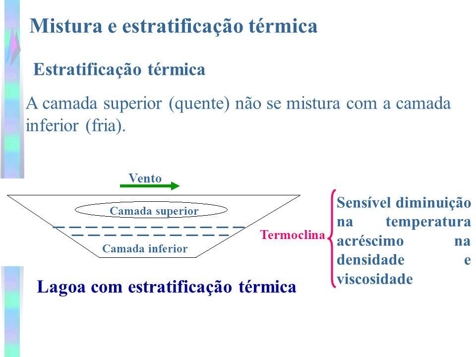 Mistura e estratificação térmica Estratificação térmica A camada superior (quente) não se mistura com a camada inferior (fria). Termoclina Camada supe