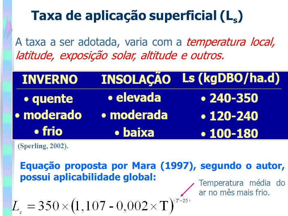 Taxa de aplicação superficial (L s ) A taxa a ser adotada, varia com a temperatura local, latitude, exposição solar, altitude e outros. Equação propos