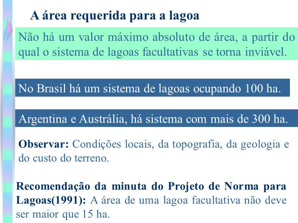 A área requerida para a lagoa Não há um valor máximo absoluto de área, a partir do qual o sistema de lagoas facultativas se torna inviável. No Brasil