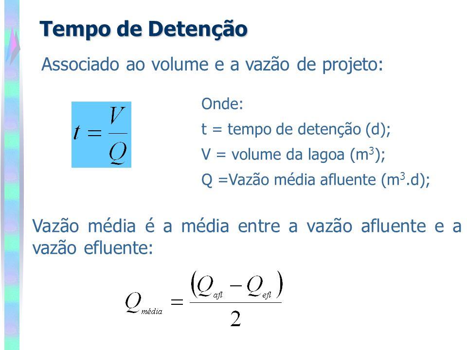 Tempo de Detenção Associado ao volume e a vazão de projeto: Onde: t = tempo de detenção (d); V = volume da lagoa (m 3 ); Q =Vazão média afluente (m 3.d); Vazão média é a média entre a vazão afluente e a vazão efluente: