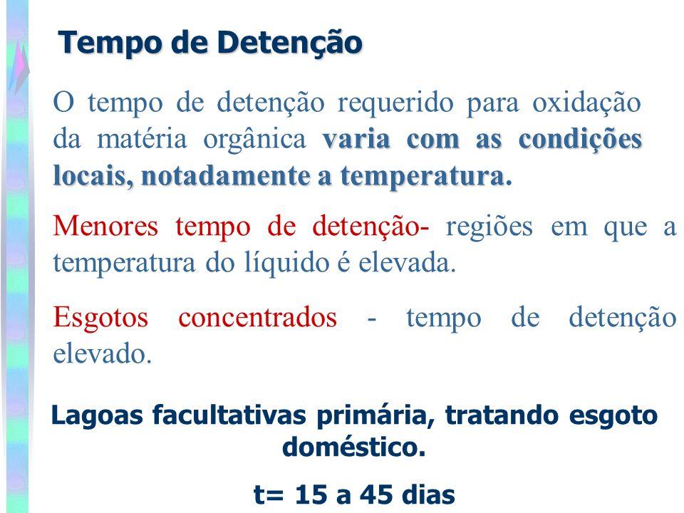 Tempo de Detenção Lagoas facultativas primária, tratando esgoto doméstico. t= 15 a 45 dias varia com as condições locais, notadamente a temperatura O