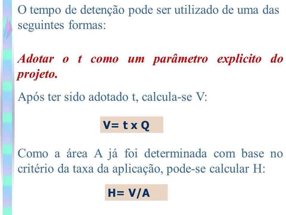 O tempo de detenção pode ser utilizado de uma das seguintes formas: Adotar o t como um parâmetro explicito do projeto. Após ter sido adotado t, calcul