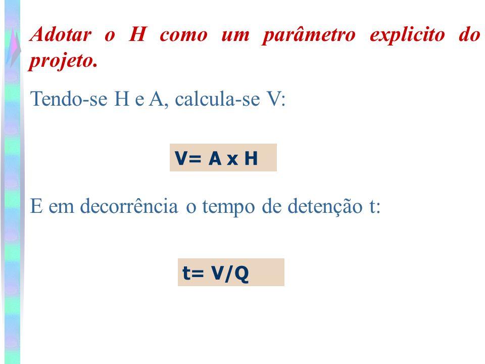 Adotar o H como um parâmetro explicito do projeto. Tendo-se H e A, calcula-se V: V= A x H E em decorrência o tempo de detenção t: t= V/Q