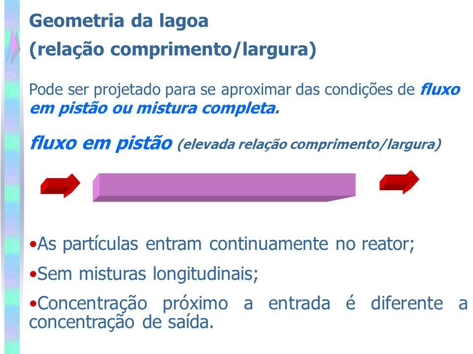 Pode ser projetado para se aproximar das condições de fluxo em pistão ou mistura completa. fluxo em pistão (elevada relação comprimento/largura) As pa