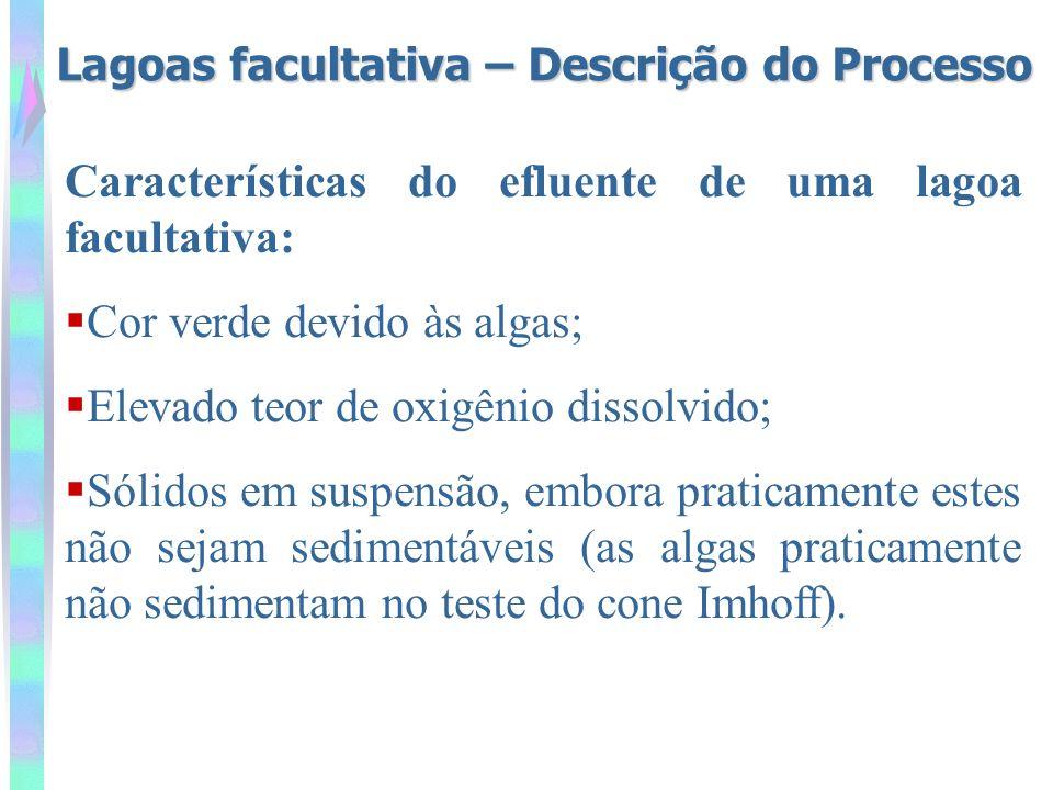 Estimativa da concentração efluente de DBO DBO total efluente = DBO solúvel + DBO particulada 1 mg SS/L = 0,3 a 0,4 mgDBO 5 /L Sólidos em suspensão 1 mg SS/L = 1,0 a 1,5 mgDQO/L DBO particulada = 0,3 a 0,4mgDBO/L 1mgSS/L