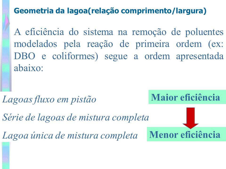 Geometria da lagoa(relação comprimento/largura) A eficiência do sistema na remoção de poluentes modelados pela reação de primeira ordem (ex: DBO e col