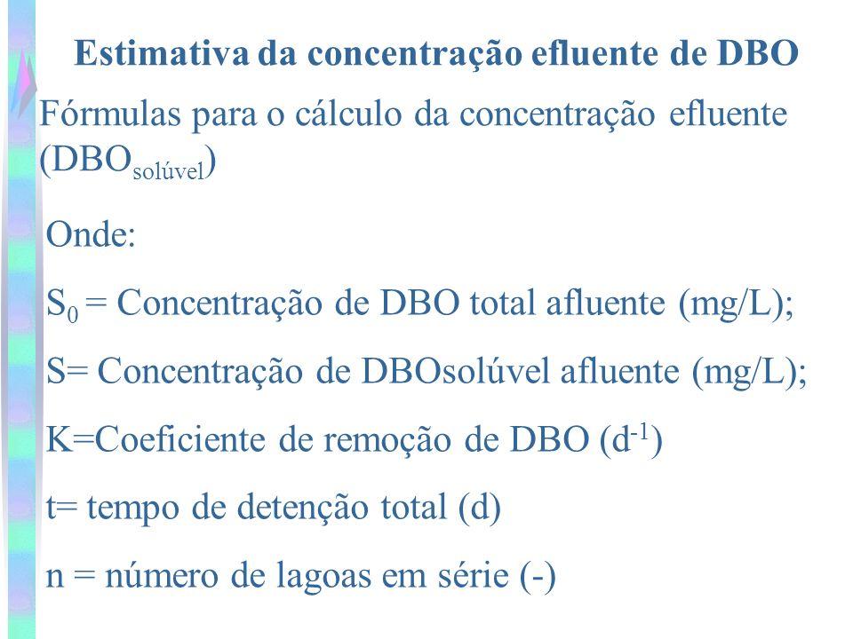 Estimativa da concentração efluente de DBO Fórmulas para o cálculo da concentração efluente (DBO solúvel ) Onde: S 0 = Concentração de DBO total afluente (mg/L); S= Concentração de DBOsolúvel afluente (mg/L); K=Coeficiente de remoção de DBO (d -1 ) t= tempo de detenção total (d) n = número de lagoas em série (-)