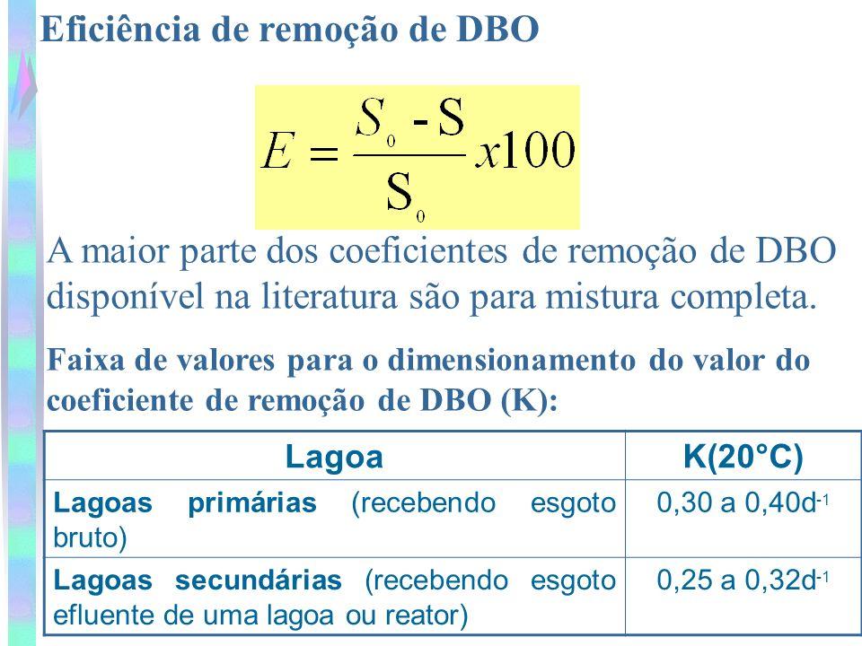 Eficiência de remoção de DBO A maior parte dos coeficientes de remoção de DBO disponível na literatura são para mistura completa. Faixa de valores par