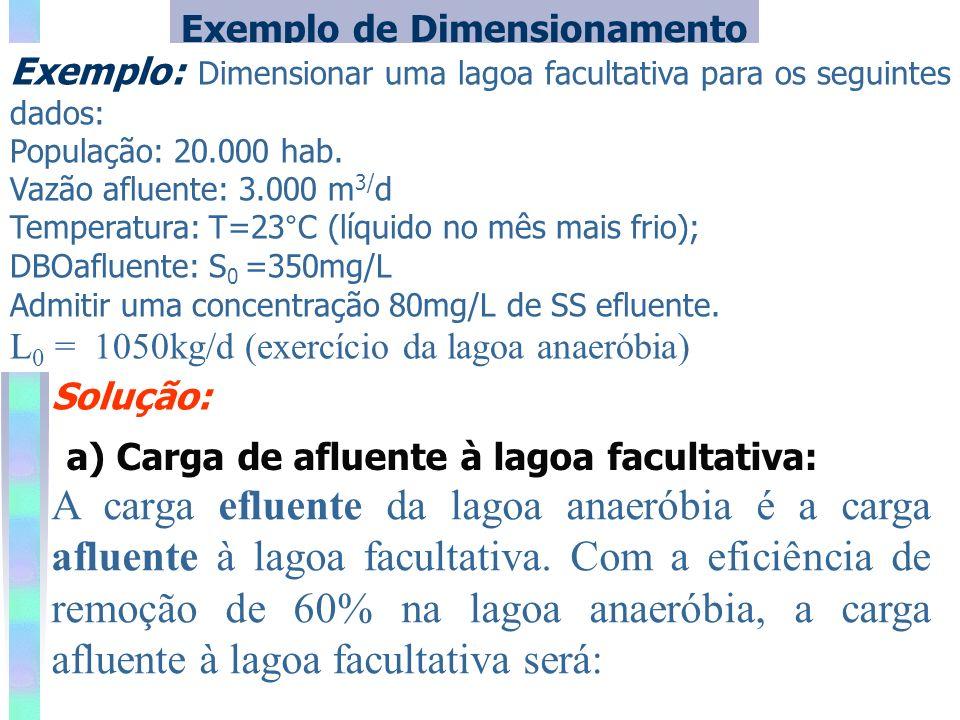 Exemplo de Dimensionamento Exemplo: Dimensionar uma lagoa facultativa para os seguintes dados: População: 20.000 hab. Vazão afluente: 3.000 m 3/ d Tem