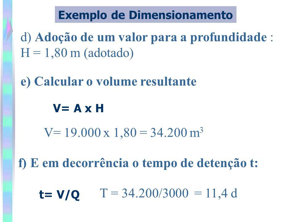 d) Adoção de um valor para a profundidade : H = 1,80 m (adotado) Exemplo de Dimensionamento V= A x H f) E em decorrência o tempo de detenção t: t= V/Q