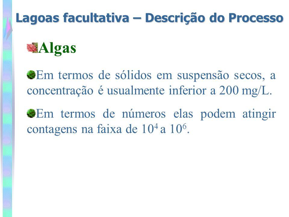 Lagoas facultativa – Descrição do Processo Em termos de sólidos em suspensão secos, a concentração é usualmente inferior a 200 mg/L. Em termos de núme