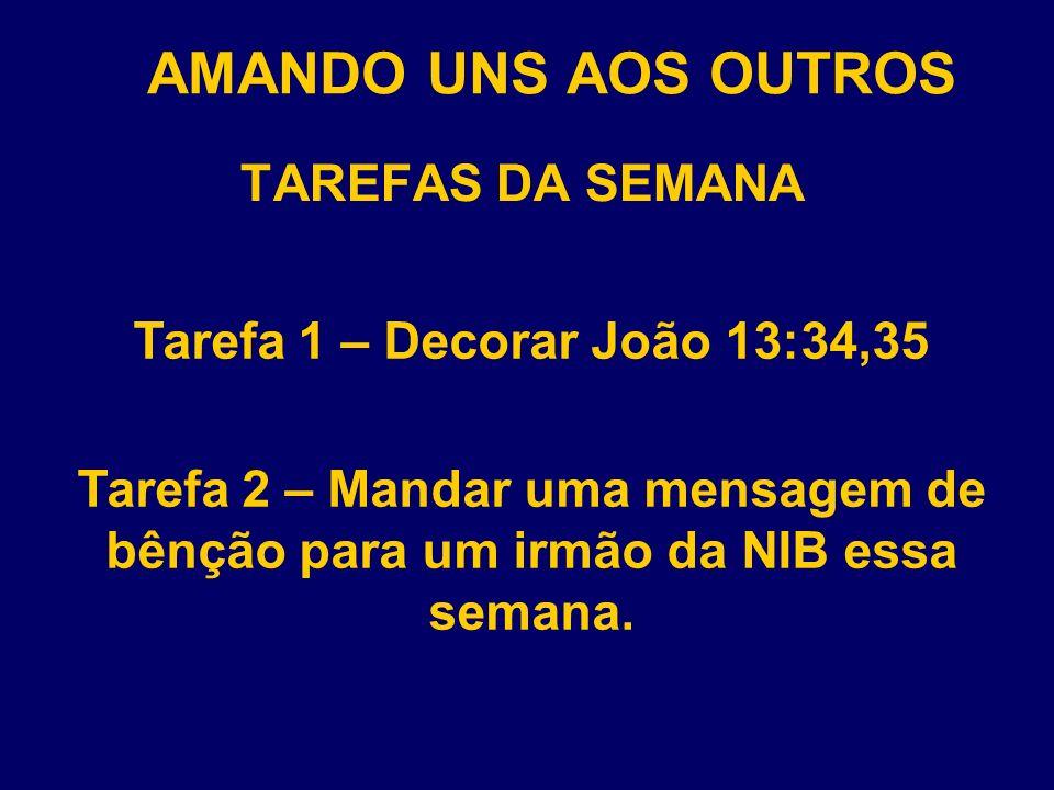 AMANDO UNS AOS OUTROS TAREFAS DA SEMANA Tarefa 3 – Presentear um irmão da NIB com um presente de R$ 5,00 ou menos.