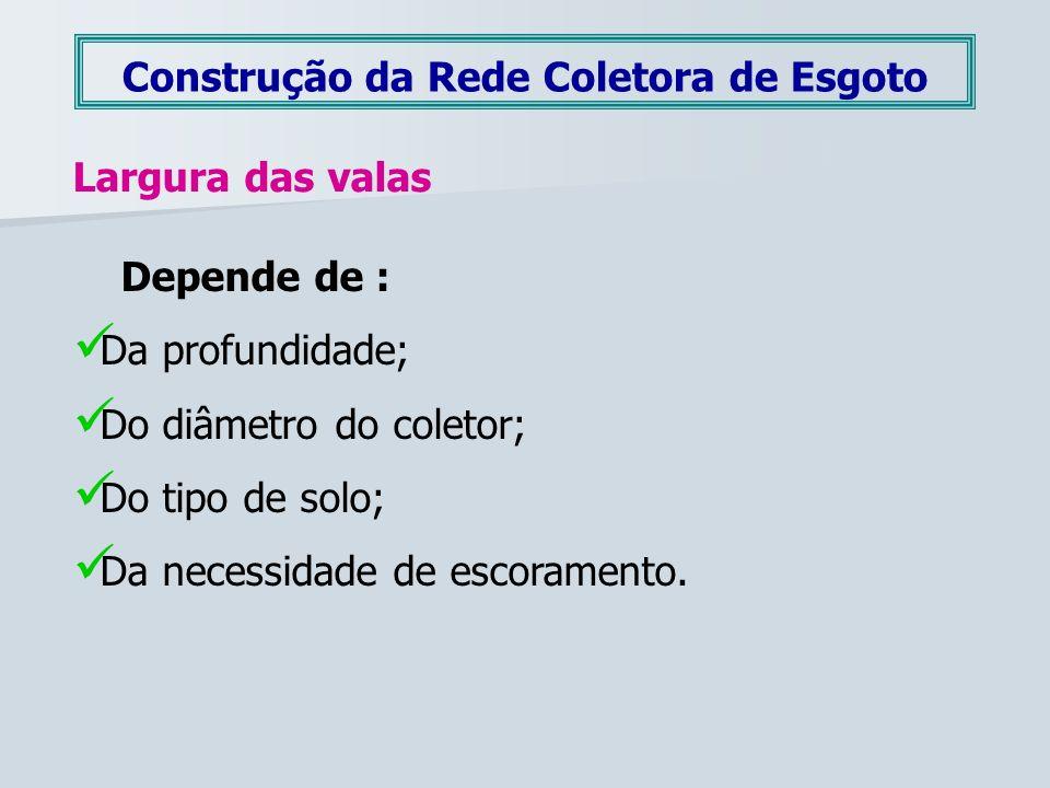 Construção da Rede Coletora de Esgoto Largura das valas Depende de : Da profundidade; Do diâmetro do coletor; Do tipo de solo; Da necessidade de escor