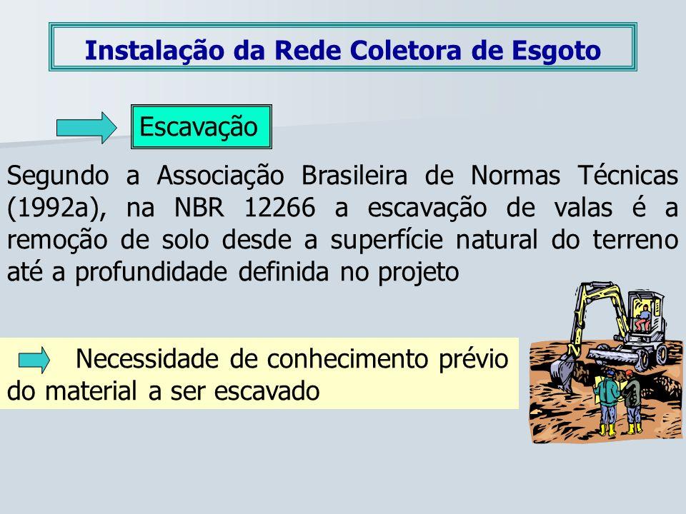 Instalação da Rede Coletora de Esgoto Escavação Segundo a Associação Brasileira de Normas Técnicas (1992a), na NBR 12266 a escavação de valas é a remo