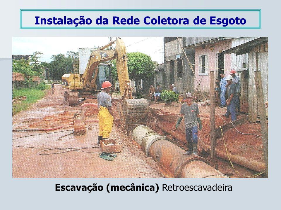 Instalação da Rede Coletora de Esgoto Escavação (mecânica) Retroescavadeira